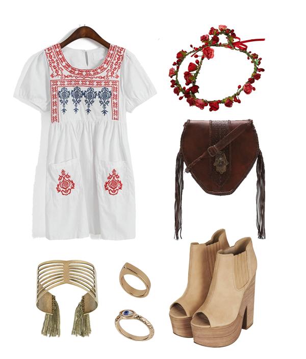 embroidered dress, tassel cuff, tassel bracelet, fringe bracelet, ring , eye ring, chelsea boot heels, hippy, hippy bag, hippie bag, festival look