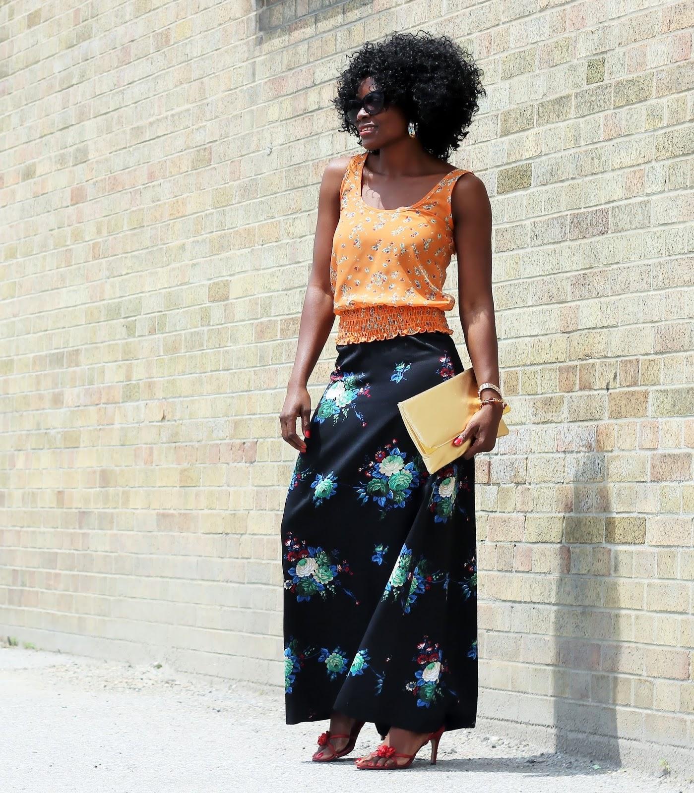 Floral Print Maxi Skirt x Floral Print Top