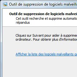 capture d'écran de Outil de suppression des logiciels malveillants