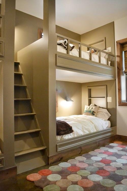 غرفة نوم رائعه بفكره مبتكره للاطفال بلون بني فاتح
