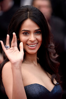 Mallika Sherawat in Dark Blue Gown at Mcbeth Premiere at 68th Annual Cannes Film Festival 2015