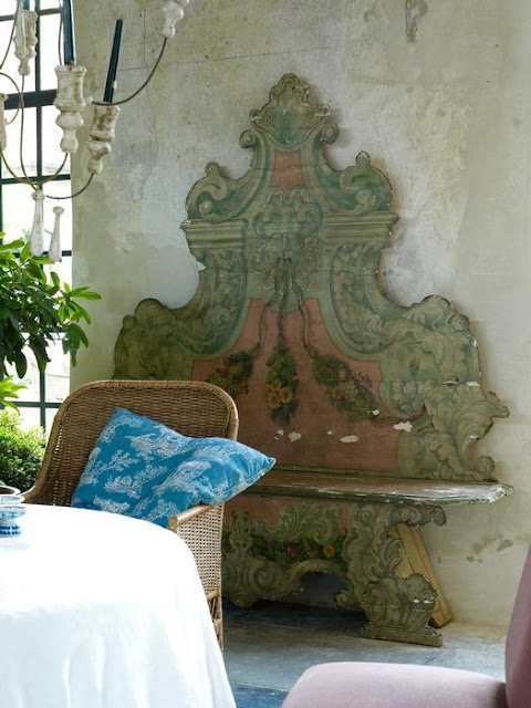 One of two North-Italian cassapanca's, 18th century, in original colour  215 cm high x 192 cm wide x 38 cm deep, shown here in the Garnier orangerie, as seen on linenandlavender.net