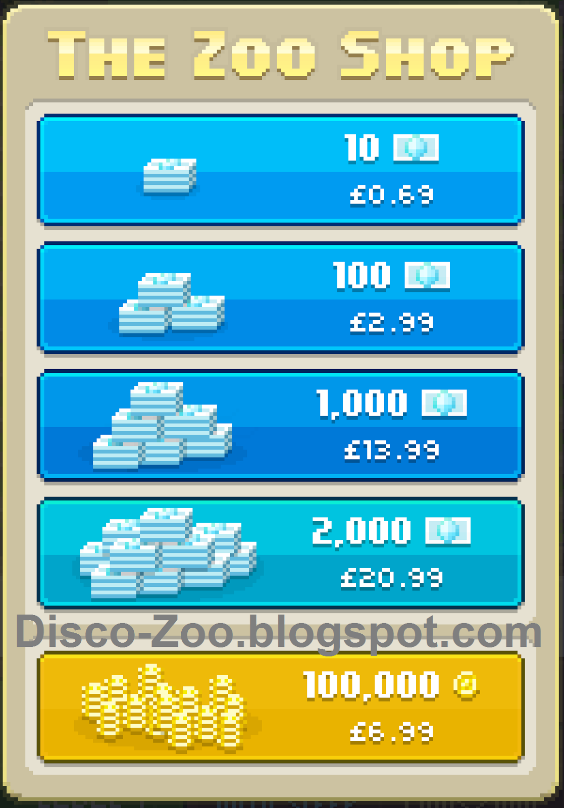 In-App purchases of Disco Zoo