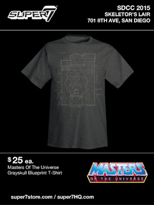 San Diego Comic-Con 2015 Exclusive Masters of the Universe T-Shirt Collection by Super7 x Mattel - Grayskull Blueprint