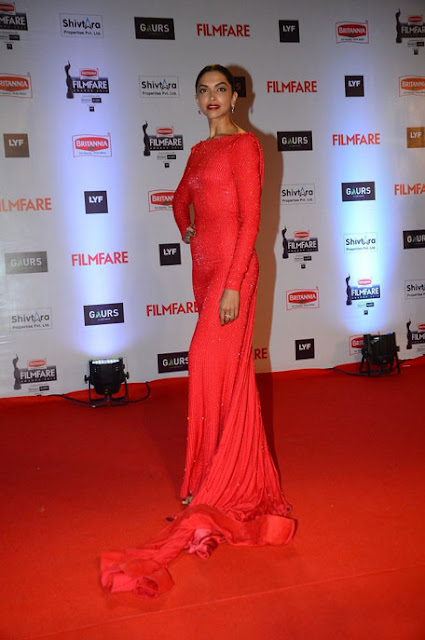 Deepika Padukone in Red Ralph and Russo Outfit Embellished with Sequins Long Gown