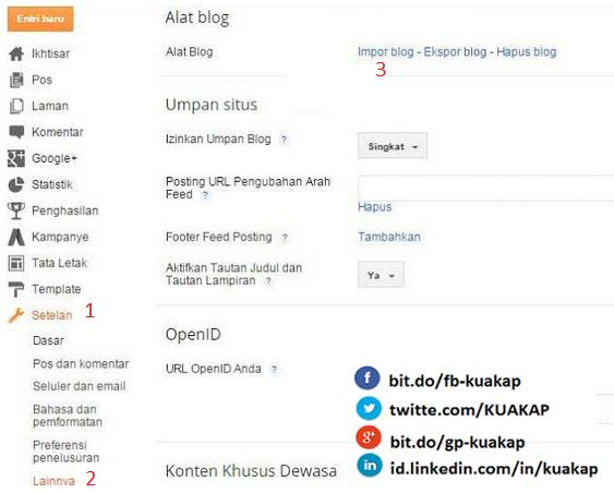Cara Mengekspor Dan import XML postingan blogger / blogspot