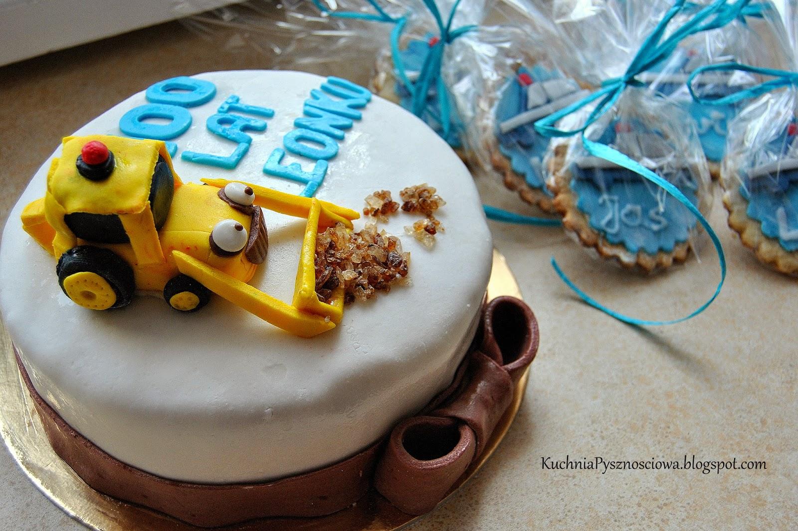 Tort z koparką i policyjne ciastka z radiowozem dla Leonka