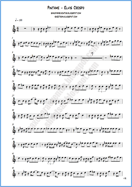 Partitura Píntame para flauta o violín hoja 1