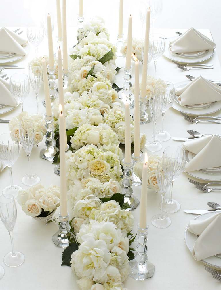 Imperial table on pinterest long tables long table for White wedding table decorations