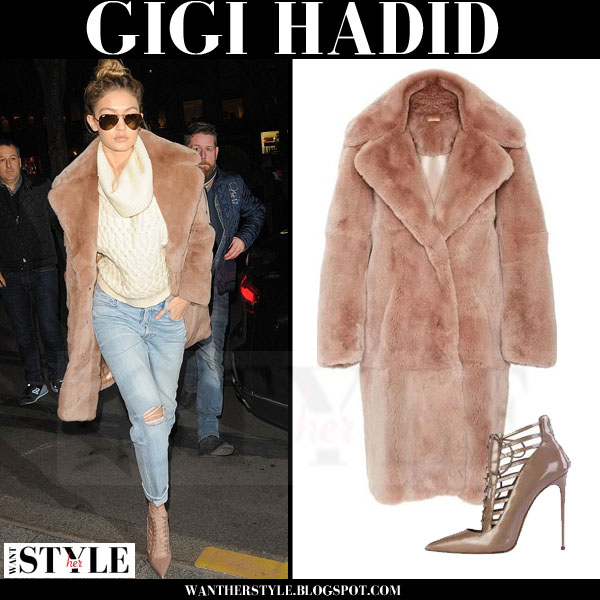 Gigi Hadid in camel fur kate ermilio coat and ripped jeans what she wore model style