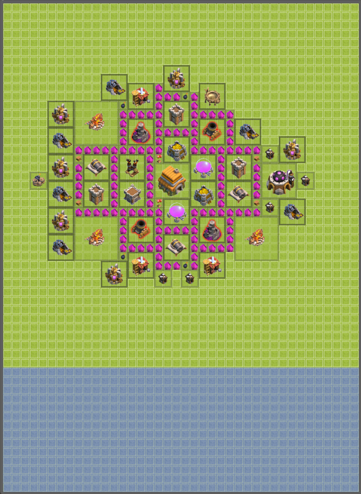 Th6 hybrid base best plan base coc defense plan farming base