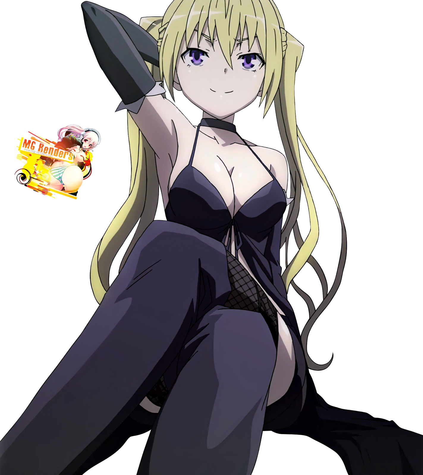 Tags: Anime, Render,  Crossed Legs,  Lieselotte Sherlock,  Trinity Seven,  PNG, Image, Picture