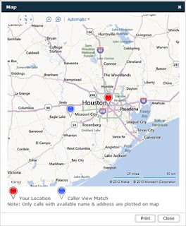 Call Mapping map of Houston area