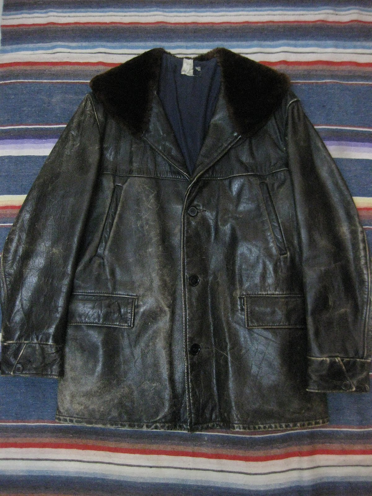 30's~                HORSE HIDE LEATHER                CAR COAT