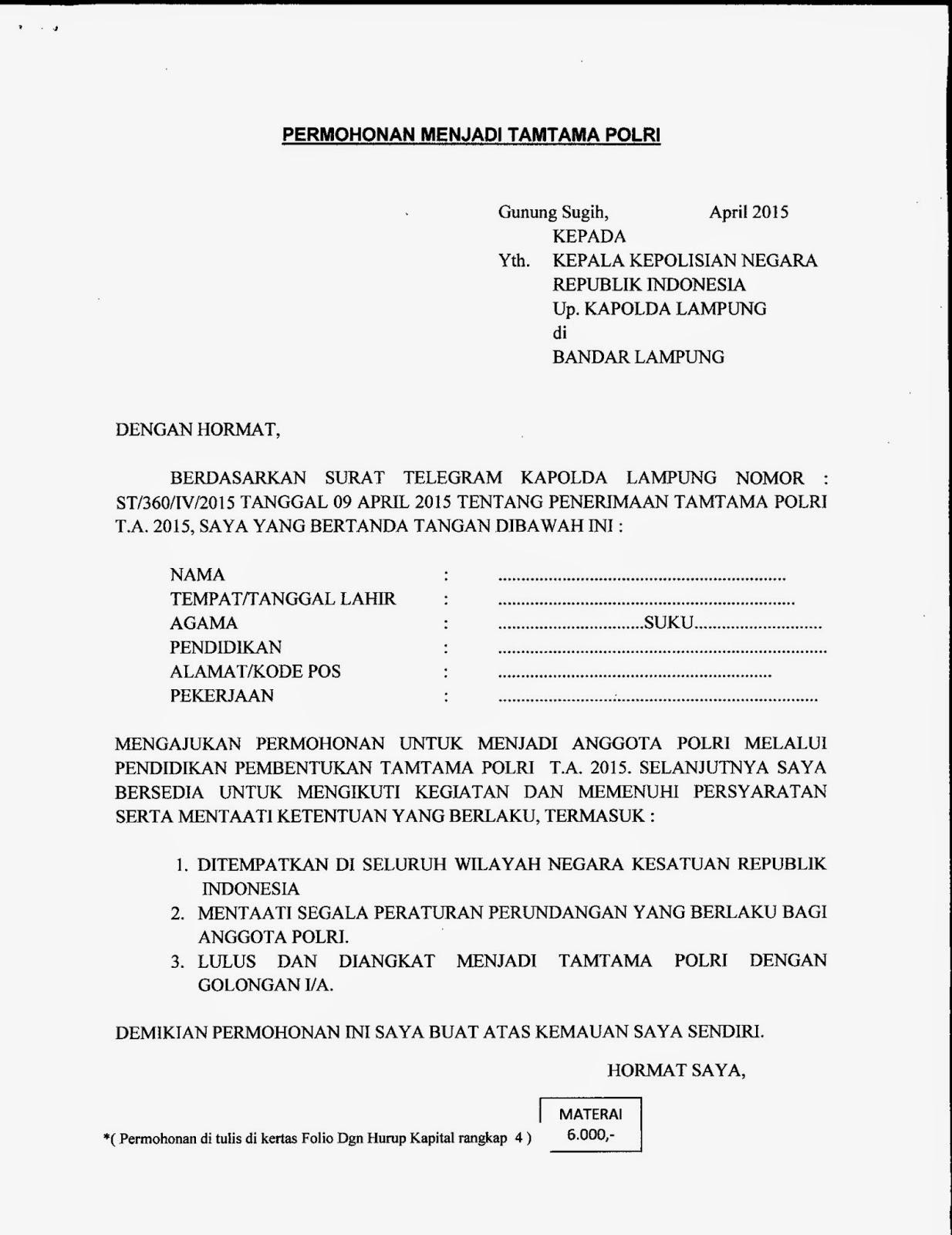 Polres Lampung Tengah Contoh Format Surat Permohonan