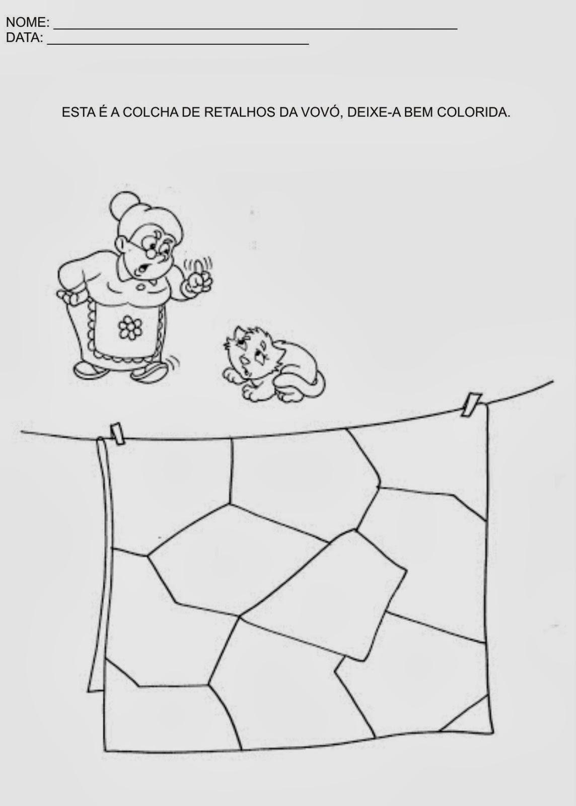 Atividades de Artes para Educação Infantil - Pinte a colcha da vovó