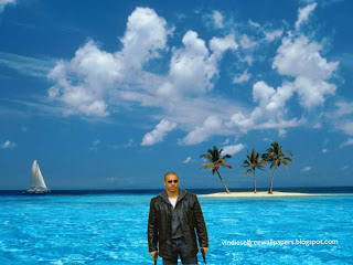 Wallpaper of Vin Diesel Action Movie Actor Vin Diesel with two guns in Tropical Blue Island background