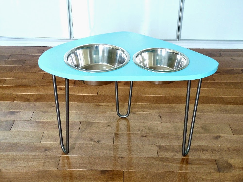 diy raised dog bowl stand with mod 1960s shape hairpin legs