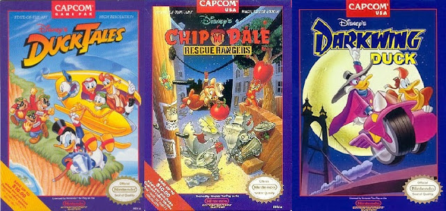 Box art for NES games DuckTales, Chip N Dale Rescue Rangers, and Darkwing Duck
