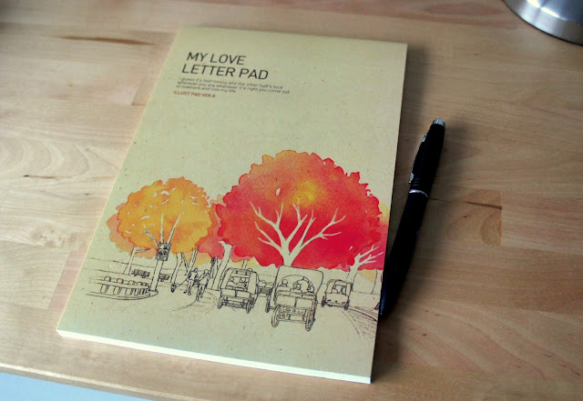 Letter pad on table