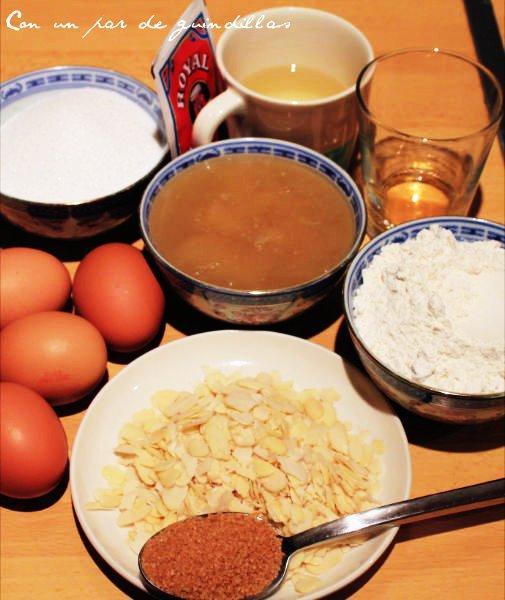 Ingredientes para elaborar un bizcocho de crema de almendras