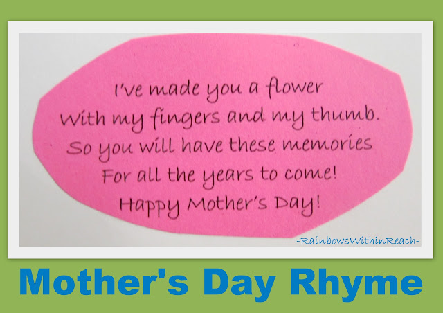 Mother's Day rhyme for handprint, Mother's Day poem for children