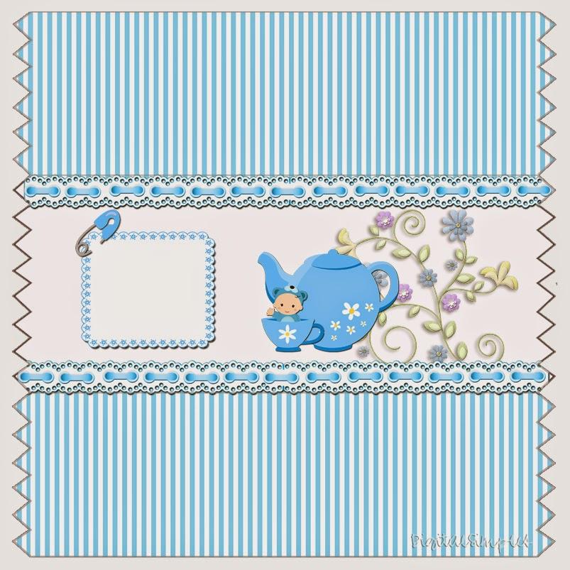 Etiquetas para imprimir gratis de Bebé Niño en azul.