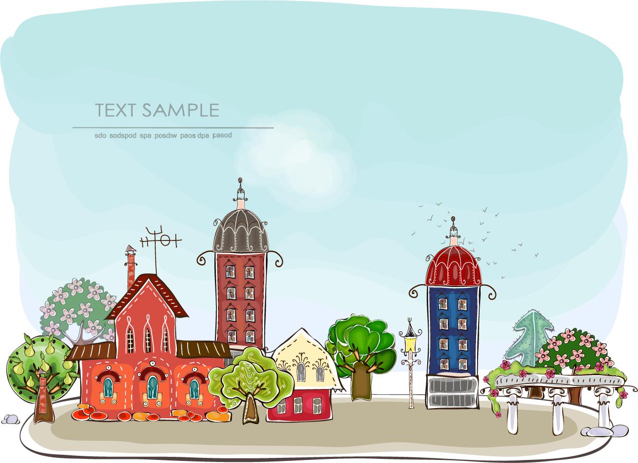 漫画調の街並みの背景 Cartoon city urban background イラスト素材