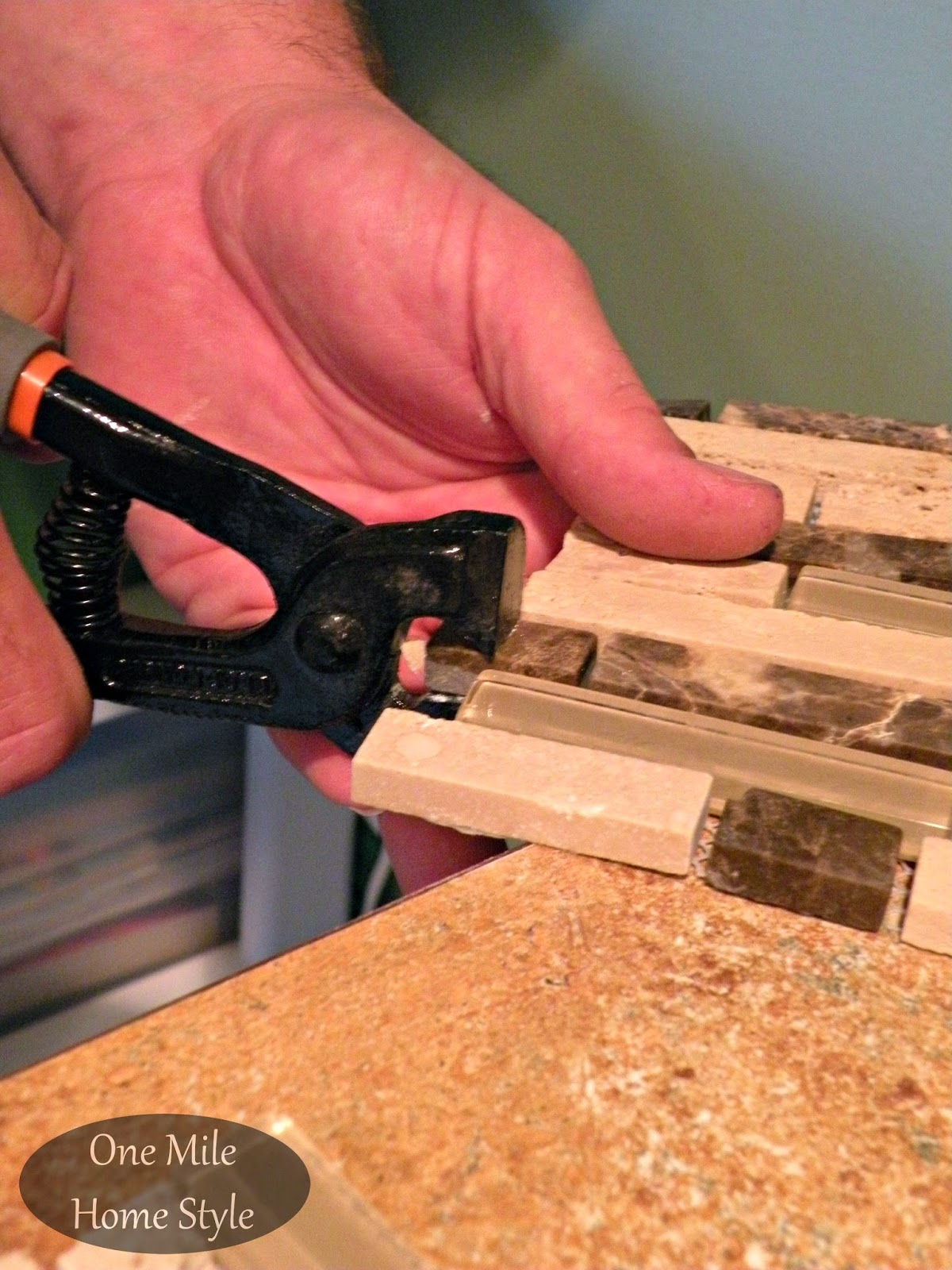 Cutting mosaic tile with tile nippers