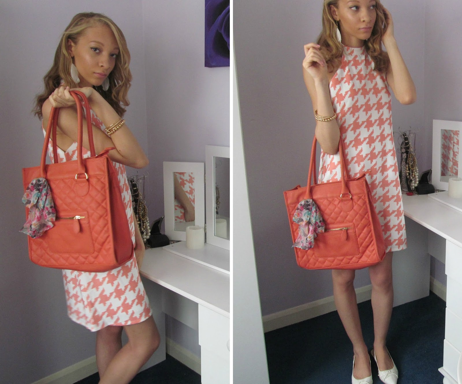 Outfit Pink Dogtooth Print Dress OOTD