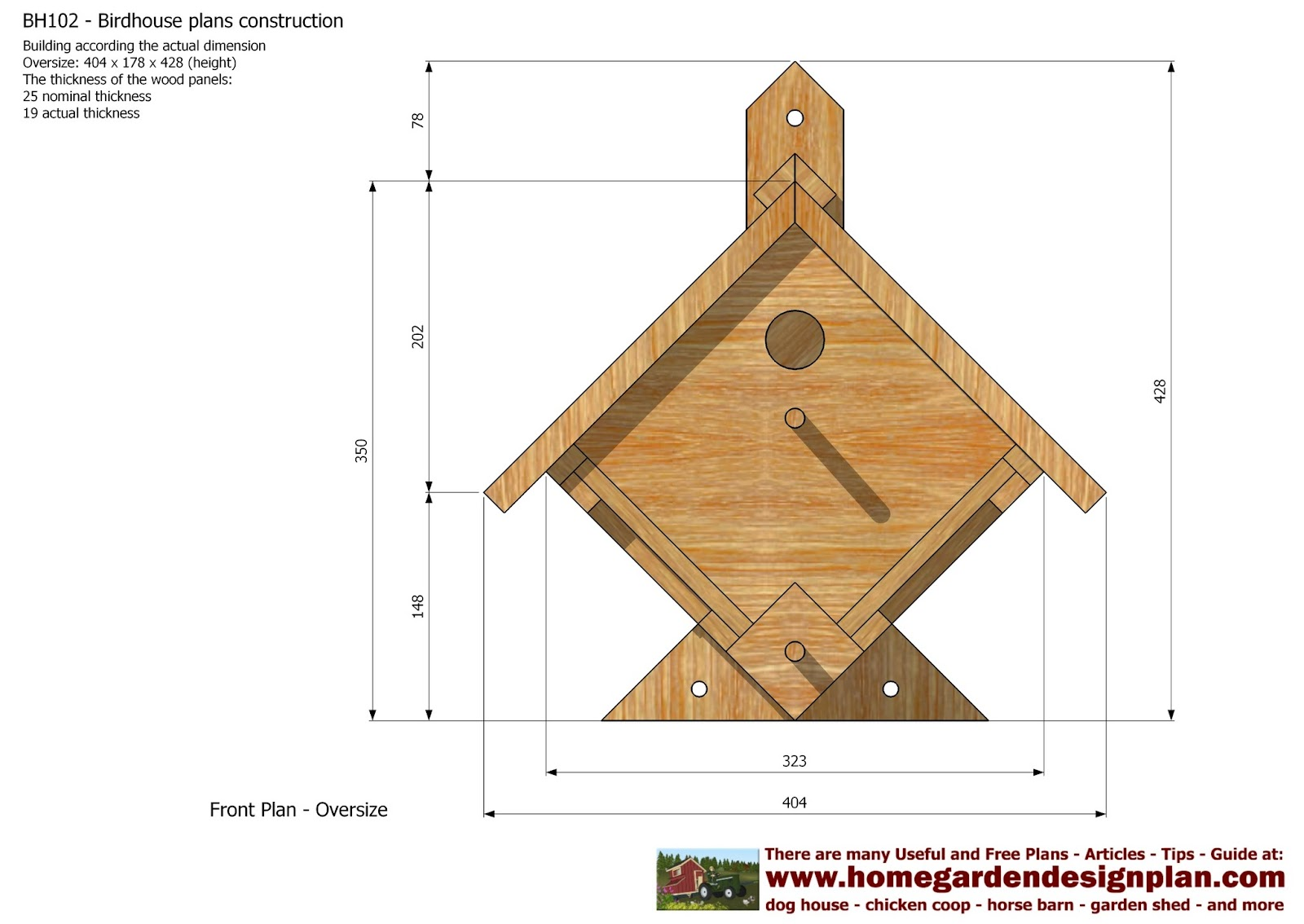 Home garden plans bh102 bird house plans construction for Build a home online free