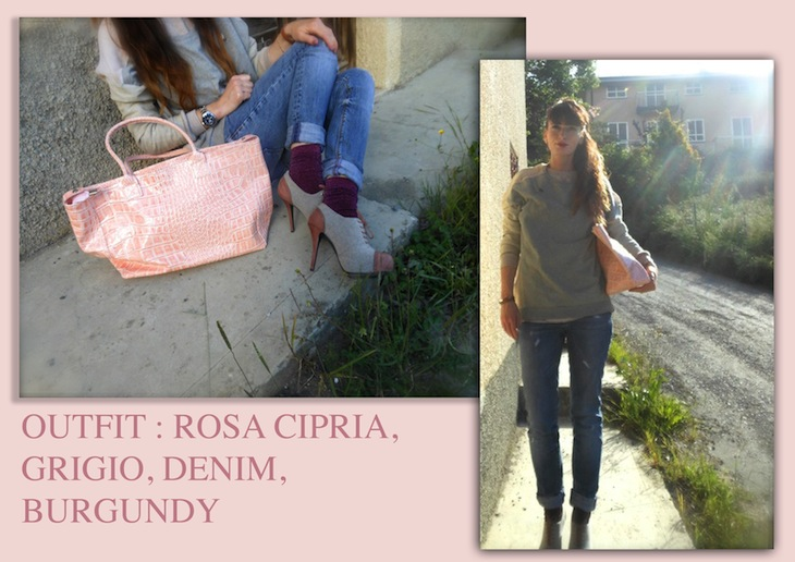 THE FASHIONAMY by Amanda: Outfit,rosa cipria, grigio, denim, burgundy