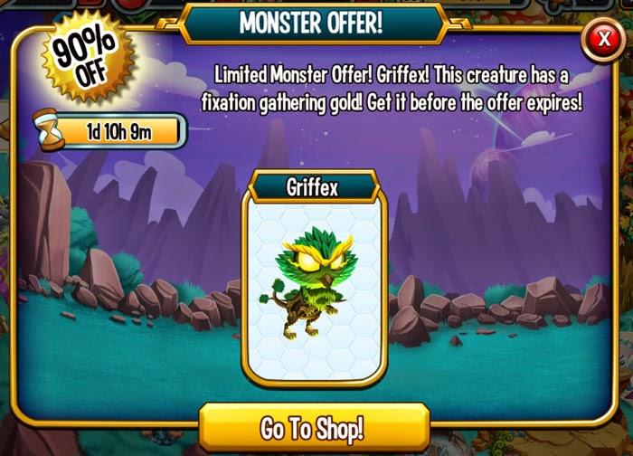 imagen del monstruo griffex con 90% de descuento en monster legends