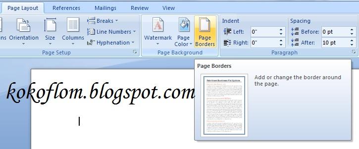 Muncul jendela Borders and shading pada Tab Page Border