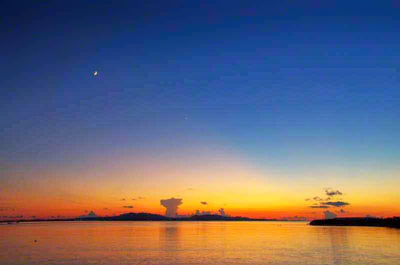 sunset,moon,ocean,star