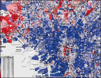 富裕層 地図 ヒートマップ 沿線 年収 平均所得 収入 大阪 関西