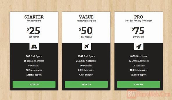 Halfy Responsive Pricing Table for Boostrap