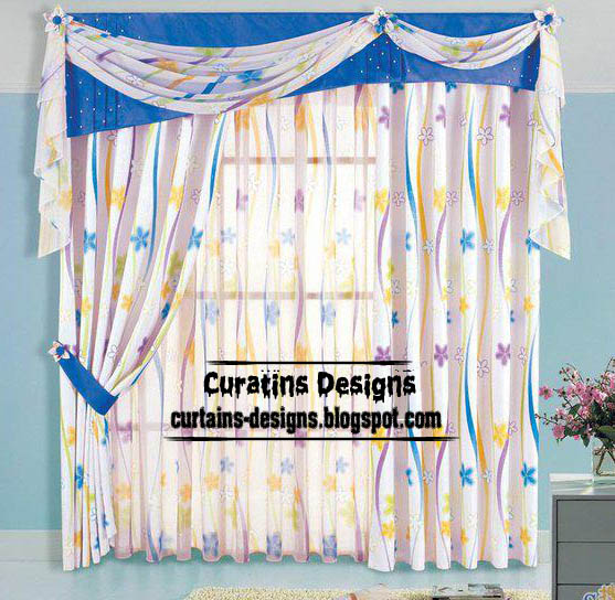 unique patterned curtain design with blue valance