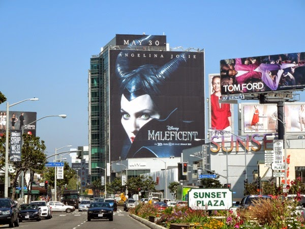 Giant Maleficent movie billboard Sunset Plaza