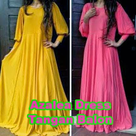Gamis Jersey Umbrella Azalea Dress Tangan Balon