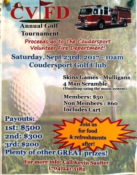 9-23 CVFD Annual Golf Tournament