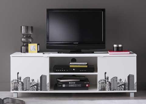 Achat Meuble Tv Banc Tv Blanc Satine Serigraphie New York