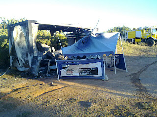 Daños materiales en el campo de golf de Béjar. fuego