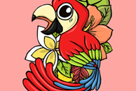 The Pink Pretty Parrot Illustration by Haidi Shabrina