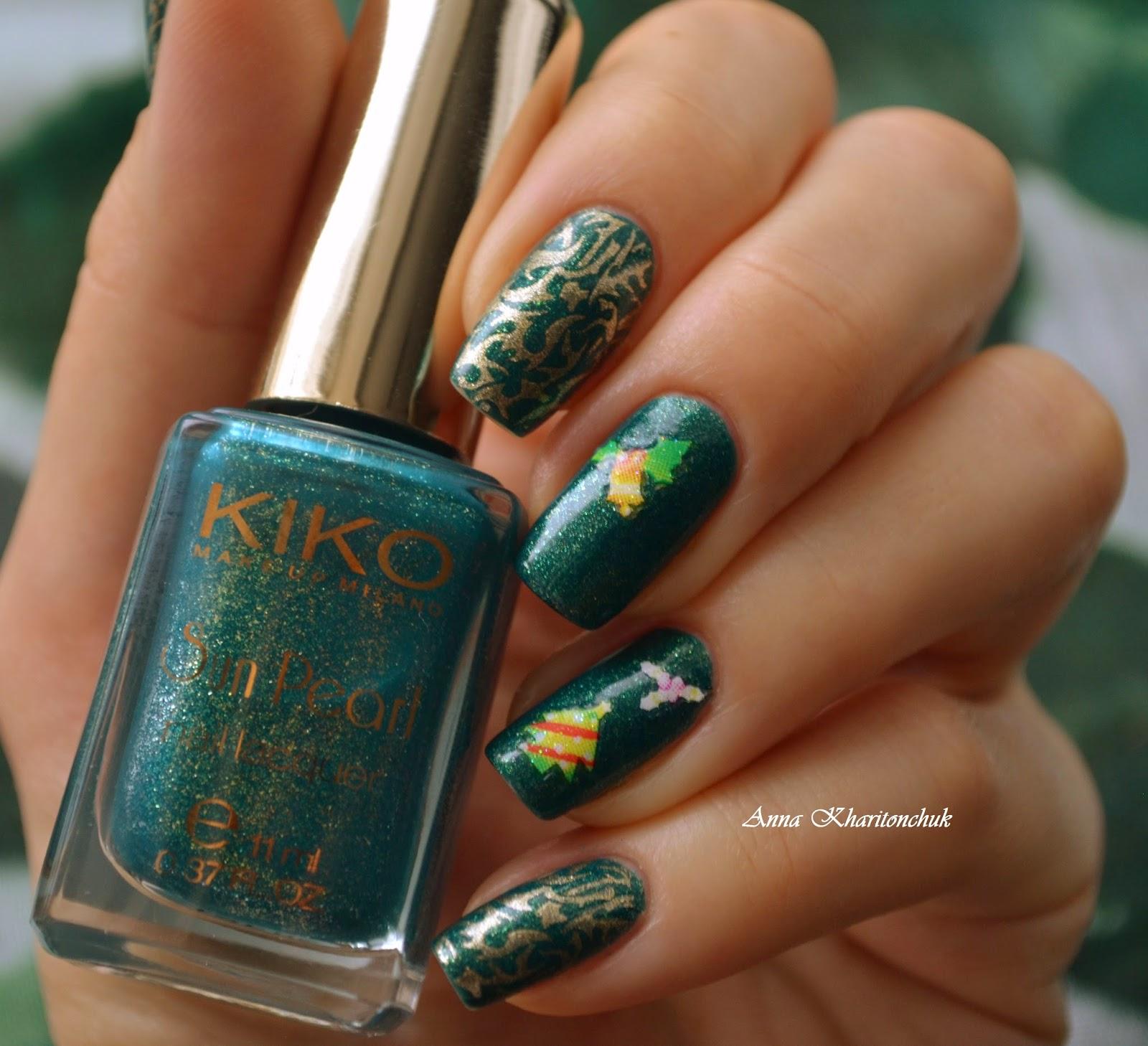 Winter11DNC.Зеленые ногти. Kiko 428 River Green и стемпинг Konad. Флешмоб: 5 маникюров зимы.