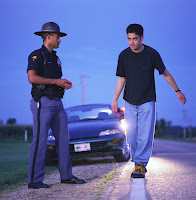 Subject performing Walk and Turn test at an OUI traffic stop