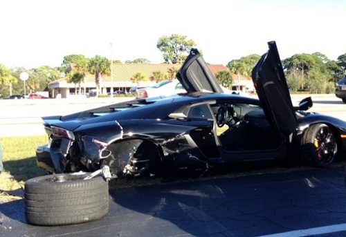 2012 Lamborghini Aventador crashed in Florida