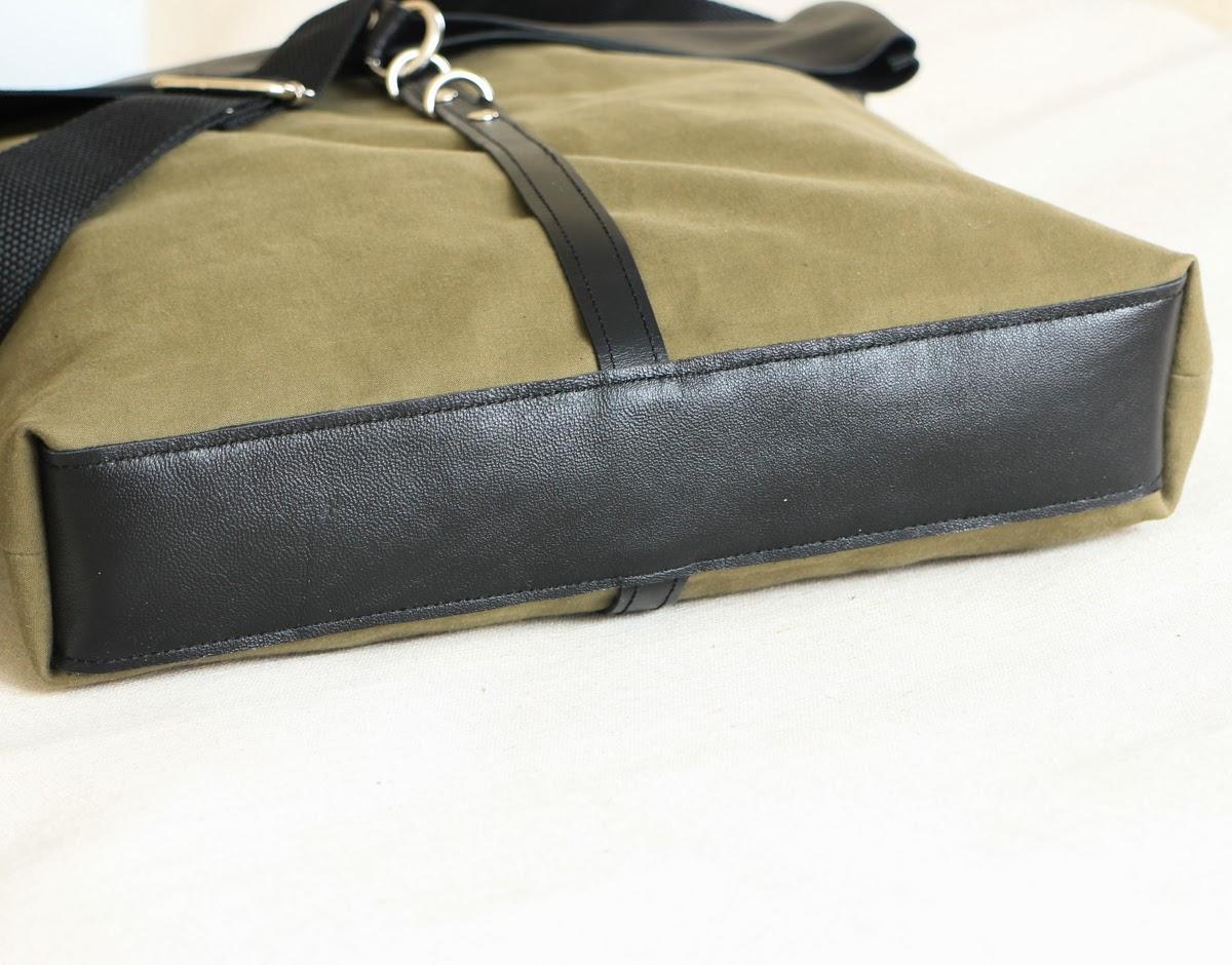 Кожаная сумка болотного цвета