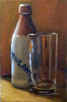 Oil painting of an earthenware ginger beer bottle beside a tall glass.