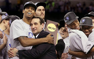 Coach K, Mike Krzyzewski, Duke Basketball, 1000 wins, NCAA Champion, Hug